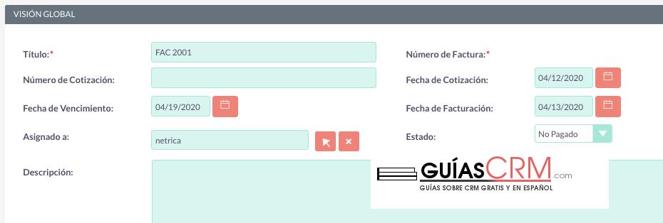 Cómo crear una factura desde SuiteCRM de forma sencilla