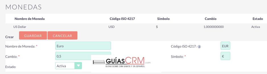 Cómo añadir una nueva moneda en SuiteCRM