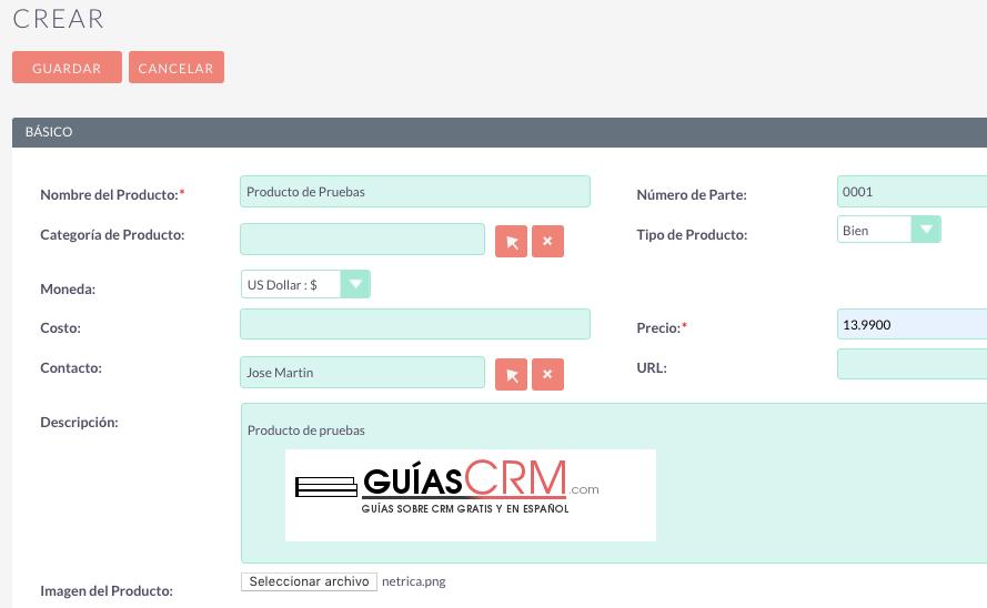 Cómo crear un producto en SuiteCRM