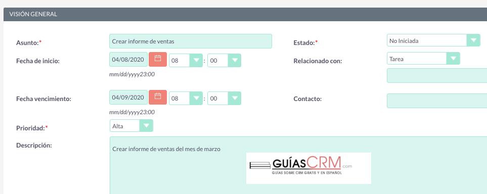 Cómo crear una tarea pendiente en SuiteCRM