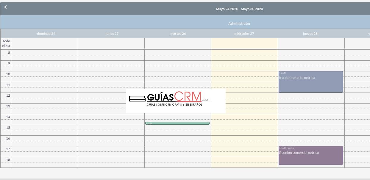Cómo modificar las opciones del calendario en SuiteCRM