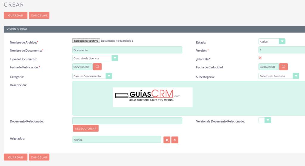 Cómo crear un documento en SuiteCRM