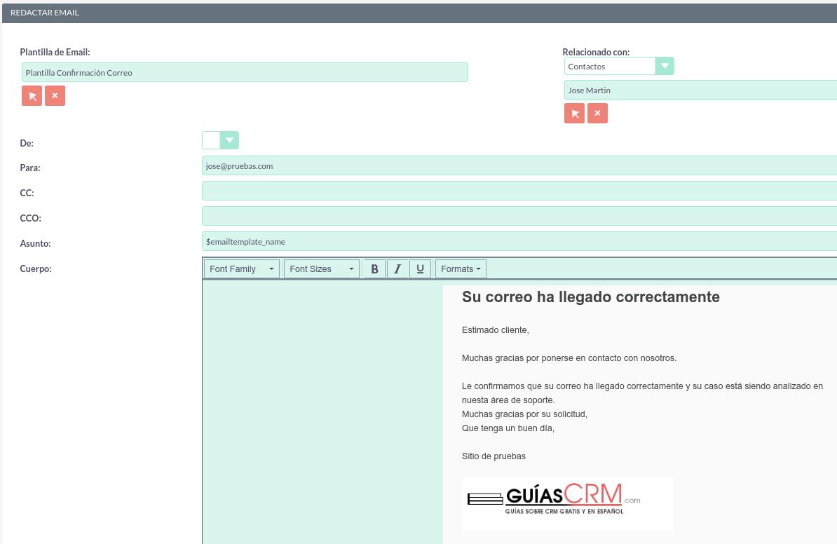 Cómo redactar correctamente un correo desde SuiteCRM